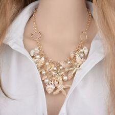 Sea Shell Starfish Faux Pearl Collar Bib Statement Chunky Necklace Pendant Women