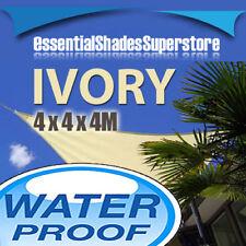 WATERPROOF TRIANGLE IVORY 4m x 4m x 4m SHADE SAIL AWNING 4x4x4 4 x 4 x 4