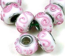 Lampwork Handmade Glass Big hole Fit Charm Bracelet Pink Spiral (8)