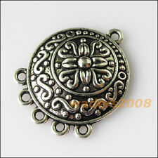 6 New Round Flower Connectors Tibetan Silver Tone Charms Pendants 23x28.5mm