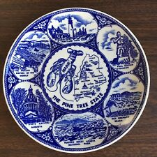 "Vintage Pine Tree State Blue and White Transferware Souvenir Plate Maine 8"""