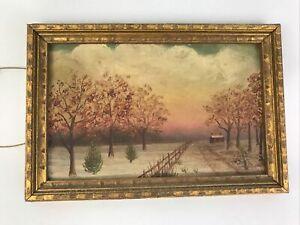 c1900 Antique American Folk Art Landscape Oil Farm Painting Estate Find NR