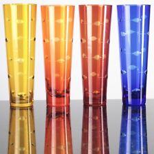🍾 4 bunte Sektgläser hohe Becher Farbglas Überfang Schliff gelb orange rot blau