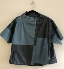 NWOT ART POINT Short Sleeve Top Blouse in Green/Charcoal, Size L