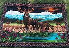 VINTAGE 70's A.T.C NEW YORK Elk/Deer Meadowlands TAPESTRY Made In Turkey 54x38