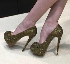 Giuseppe Zanotti Swarovski Bronze Crystal Open Toe Pumps Shoes 36.5
