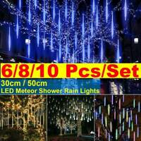 10Pcs LED Meteor Shower Lights Waterproof Falling Rain Icicle Christmas Decor US