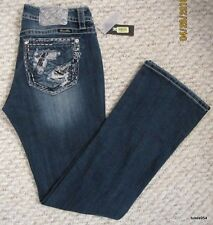 Miss Me Distressed Stone Washed Silver Sequin Signature Boot Cut Jean 31 NWT New