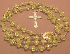 Rosary Necklace Faceted Rondelle AB Bead Medal Center Silver GREEN ST JUDE !!
