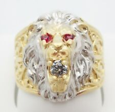 Men's Lion Head Ring 10K Yellow Gold  Lion Face Ring