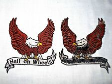 """3 1/2"""" x 3 1/2"""" EAGLE """"HELL ON WHEELS"""" BIKER MOTORCYCLE IRON ON-SEW ON PATCH"""