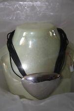 Collier ESPRIT DE FEMME multiple cordon noir pendentif métal brillant neuf