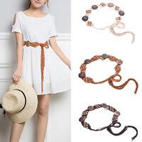 Femmes Boho corde tricotée perles en bois ceinture taille chaîne