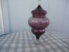 vintage retro lidded art glass bon bon dish amethyst purple vanity dish
