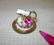Miniature Ni-Glo Pitcher and Basin (Set #1) with Gold Accents: DOLLHOUSE 1/12