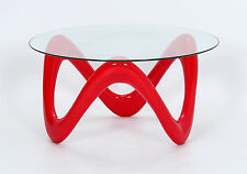 Coffee Table Clear Glass Round Top Red Gloss Curly Base Retro Funky Table