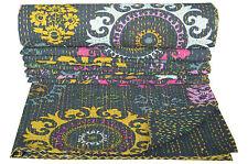 Indian Kantha Quilt Twin Size Black Throw Reversible Bedspread Bedding Gudari