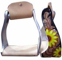 Western Horse Saddle Twisted Angle Aluminum Stirrups Sunflower w/ Leather Tread