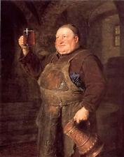 Oil painting eduard grutzner - monch mit bierkrug old man holding wine cup art