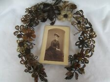 Victorian Hair Art Mourning Wreath with Lady Portrait Large