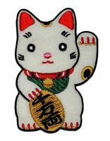 Maneki-neko Welcome Lucky Cat Sew On Iron On Embroidered Badge Patch
