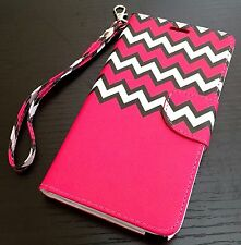 Samsung Galaxy Note 5 - LEATHER CARD ID WALLET POUCH CASE COVER HOT PINK CHEVRON