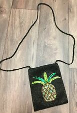 BEADED EMBROIDERY PINEAPPLE SHOULDER BAG PURSE BLACK ELEGANT