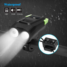 USB LED Rechargeable Bike Headlight Bicycle Front Head Light Cycling With Horn
