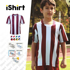 KIDS T-SHIRT 100% POLYESTER COOL DRY BREATHABLE STRIPED FOOTBALL JERSEY TEES
