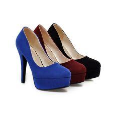 Fashion Ladies Party Shoes Faux Suede Platform Slim High Heel Pumps AU Size s612