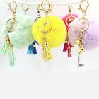 Softs Cute Rabbit Fur Ball PomPom Cell Phone Car Pendant Handbag Key Chain Ring