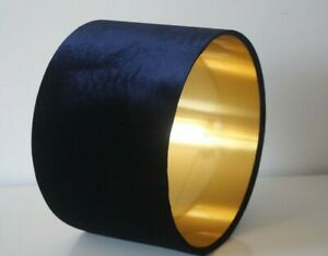 Lampshade, Navy Blue Velvet with Brushed Gold or contrast Lining