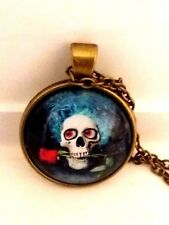 Vintage Blue Haired Skull With Red Rose Gothic Bronze Glass Cabochon Pendant.