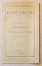 Antique 1876 BOSTON RECEIPTS Clara Fay COOK BOOK 200 Recipes HEALTHFUL COOKING