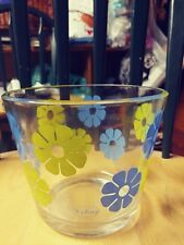 VINTAGE COLONY MOON FLOWER GLASS ICE BUCKET BLUE AND GREEN MOD FLOWER PATTERN