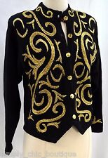 Petite Sophisticate Ugly Christmas Sweater Cardigan top  Black Gold 80s SZ P VTG