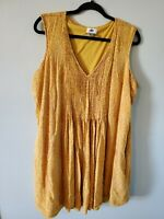 Old Navy Women's Plus Size 2XL Yellow Print Pleated Mini Dress Sleeveless Lined