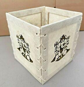 "Handmade Lokta Paper Lamp Shade from Nepal - Gold and White Ganesh 4 1/2"""