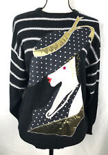 Vtg 1980's Sweater Lady Hat Pearls Avant Garde Art to Wear Size Medium bl