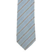 BRIONI Light Blue Brown Striped Textured Men's Silk Cotton Neck Tie