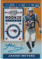 2019 Contenders Optic Jakobi Meyers Patriots Orange Prizm Rookie Autograph 20/50