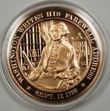 Bronze Proof Medal Washington Writes His Farewell Address Sept 17 1796