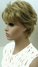 Short mixed blonde Synthetic Wig w Volume on top, highlights & choppy layers