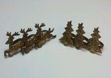 LOT DII Brass 3 Christmas Tree and 3 Raindeer Napkin Rings 6 total