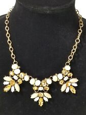 Gold Tone Faux Faceted Crystals and Acrylic abochons and round bead Necklace