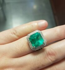 Certified 18k White Gold 8.14ct Square Cut Emerald & 0.58ct Diamond Halo Ring