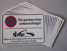 20x Parkverbot-Aufkleber statt Schild im Postkartenformat, UV-echt & wasserfest