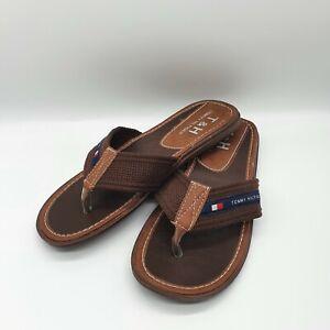 Tommy Hilfiger Flip Flops Mens Brown Sandals Size Uk 9
