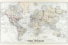 Mappa ANTICA 1875 birre proiezione di Mercatore Mondo replica poster stampa pam1940