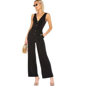 LPA Forever V Neck Wide Leg Jumpsuit Black Small Retail $188 size small